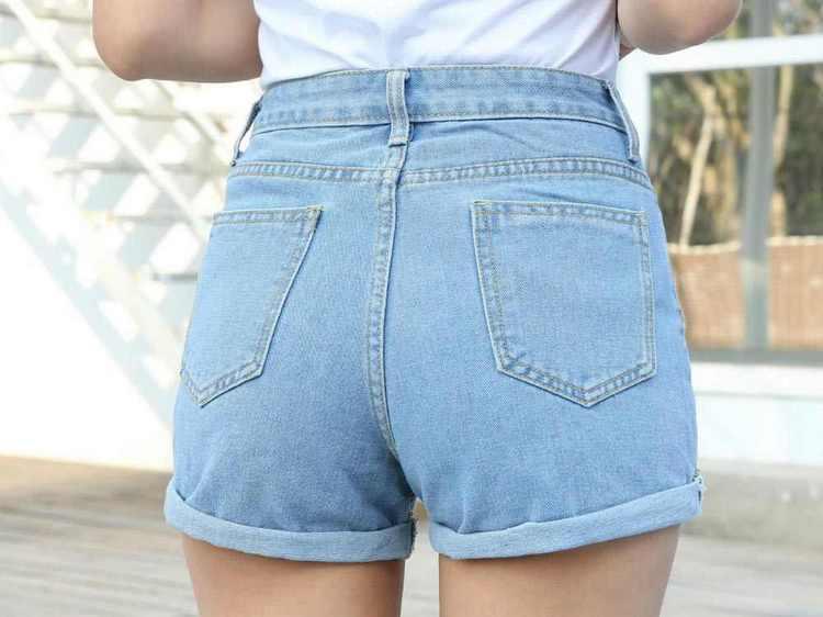 джинсовые шорты с завышенной талией